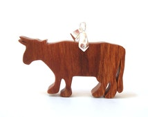 Cow Necklace Wood Farm Animal Pendant Country Rural Cherry Hand Cut Pendant Scroll Saw