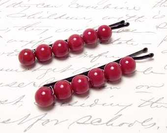 Red Shell Beaded Hair Accessories. Summer Hair Clip Barrette. Ruby Red Beaded  Bobby Pins. Shell Beads.