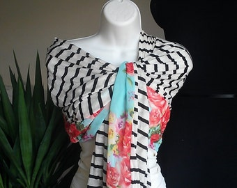 Women's Black and White Cotton Striped Knit Scarf with Bright Flower Accent.