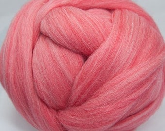 Superfine Merino Wool Top - 18.5 micron - Coral - 4 ounces