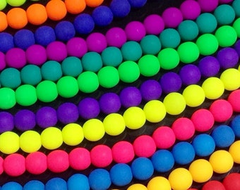 6mm Neon Glass Beads, Round, UV Active Glow, Matte Finish, Czech, Choose from 12 Colors, 26 Beads per Strand, #2006