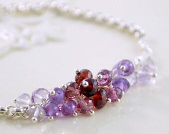 Gemstone Bracelet, Garnet Rhodolite Pink Amethyst, Rolo Chain, Genuine Stone Cluster, Sterling Silver Jewelry, Free Shipping