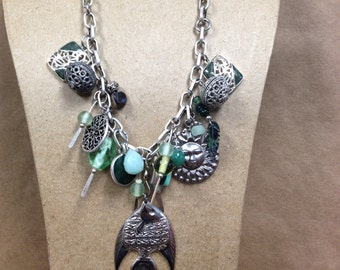 Green Fish Statement  Necklace