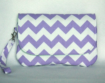 Chevron Diaper Clutch - Purple and White Diaper Clutch with Mint Green Lining