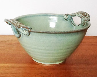 Serving Bowl Swirly Handles Cutout Medium in Spring Green Glaze