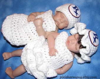 TWIN Newborn PHOTO Props - PHARMACIST - Baby Boy Girl Hat and Cape - Reborn Doll Clothes - Made to Order - White