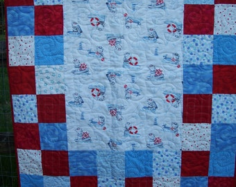 Baby Flannel Quilt - Sailor, Bears, Red, White and Blue