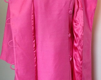 "Vintage ""Country Set"" Dress and Coat Set in Vibrant Pink"