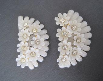 Vintage Brass White Floral Rhinestone Plastic Earrings