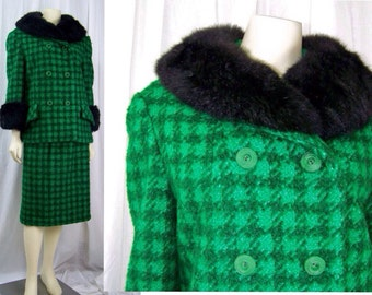 Vintage fur collar 1960s houndstooth wool suit Mad Men Christmas