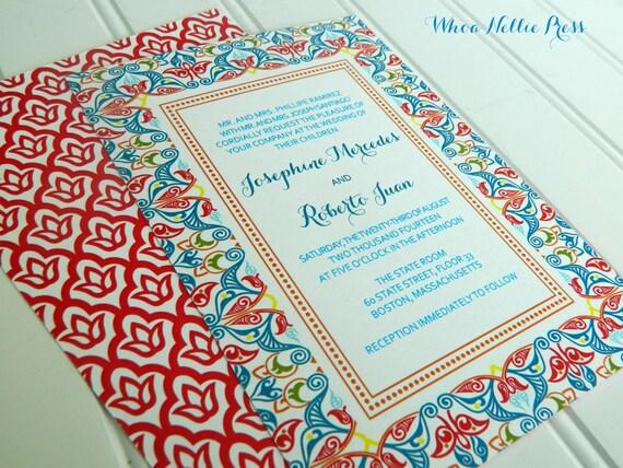 Spanish Wedding Invitations Examples: Spanish Tiles Wedding Invitations By WhoaNelliePress On Etsy