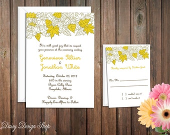 Wedding Invitation - Autumn Leaves Sketch in Yellow Fall Shades - Invitation and RSVP Card with Envelopes
