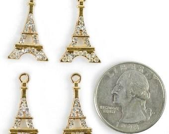 Eiffel Tower Charms with Rhinestones, Set of Four  *ZG-C01