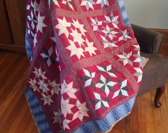 Vintage Snow Crystal Blocks New Quilt Lap or Throw Size