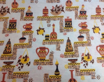 One Yard Vintage Mid Century Cotton 1960s Gold and Brown Pottery Design