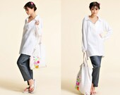 Sweet Lobelia/ Free Style Linen Women's Blouse with Backside Hemline petals / No Shoulder Seams/ 26 Colors/ RAMIES