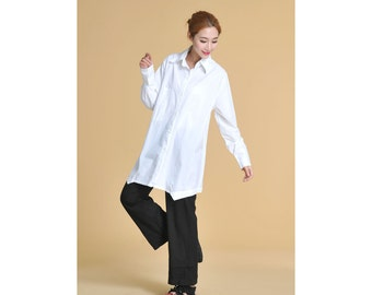 Free Style Linen Long Blouse with Special Hems/ 27 Colors/ RAMIES