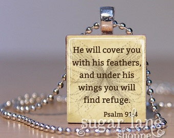 Bible Verse Scripture Necklace - (SPSA1 - He will cover you with his feathers - Psalm 91:4) - Scrabble Tile Pendant with Chain