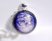 SALE. Planet Earth pendant. Planet necklace. Blue Planet. Silver shiny  frame and chain.