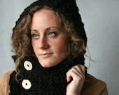 Hooded Cowl - Scoodie - Chunky Black Yarn - Wooden Buttons - Vegan Hat - Hood - Cowl - 8 Colors