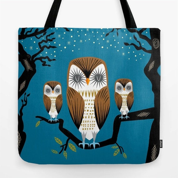 "Three Lazy Owls - illustrated Dark Blue - Owl / Bird - Tote Bag ( 18"" x 18"")"