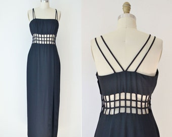 1990s Black Cage Dress / 90s Minimalist Bodycon Maxi Dress