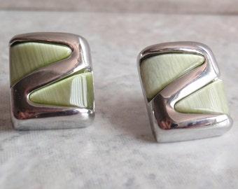 Lime Green Rectangular Earrings Silver Tone Posts Vintage Estate 091313HE