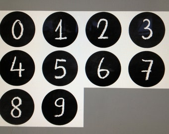 "Number Magnets 0-9 Back to School Chalkboard Design Each 1.5""  Made To Order"