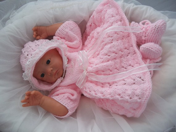 Easy To Knit Afghan Patterns : Baby Girls Download PDF Knitting Pattern Rianna Knitted