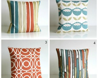 10x10 Throw Pillow Cover, Orange and Teal Cushion Cover, Pillow Sham, Stripes, Flowers, Circles - Burnt Orange Collection