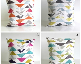Pillow Cover, Geometric Cushion Cover, Accent Pillow, Pillow Case, Geometric Pillow Sham, 16 Inch, 16x16 - Pop Triangle