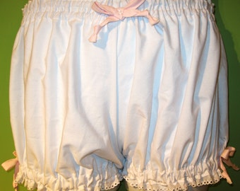 Size XL Bloomers,  Plus Size, Womens Bloomers, White Cotton Sheeting trimmed in Pink Ribbons and White Eyelet