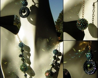 Hand Crafted Starry Nights Necklace & 2 Pairs of Earrings Dazzling Sparkle CLEARANCE