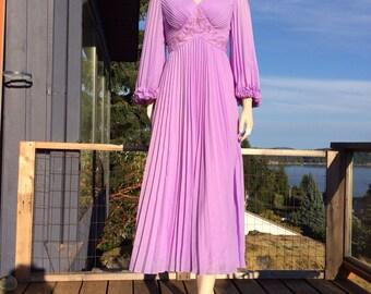 Vintage LAVENDER Purple Embellished BELL Sleeve Dress S