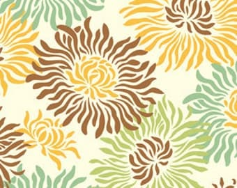 Heather Bailey - Freshcut - Graphic Mums in Brown - cotton quilting fabric - BTY