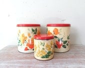 Vintage Trio of Willow Tins with Roses