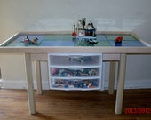 "Ultimate 6 plate  lego table with drawers Natural Finish 22"" tall"