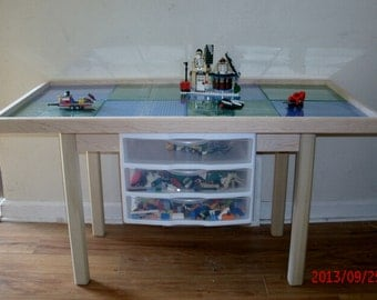 "Ultimate Large 6 plate  lego table with drawers. 29"" legs"