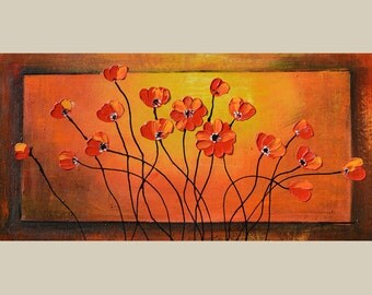 ORIGINAL Oil Painting Dancing Flowers 45 X 23 Palette Knife Colorful Flowers Yellow Orange Red Modern Contemporary ART by Marchella