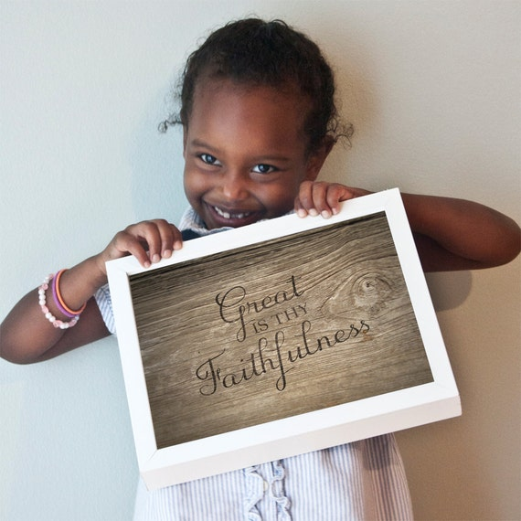 Great Is Thy Faithfulness print with wood grain background