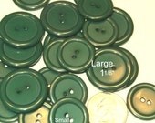 Discount Sewing BUTTONS,  25 Medium Green buttons 7/8 inch, 20 Large Green buttons 1 1/8 inch, Button lot, button embellishments