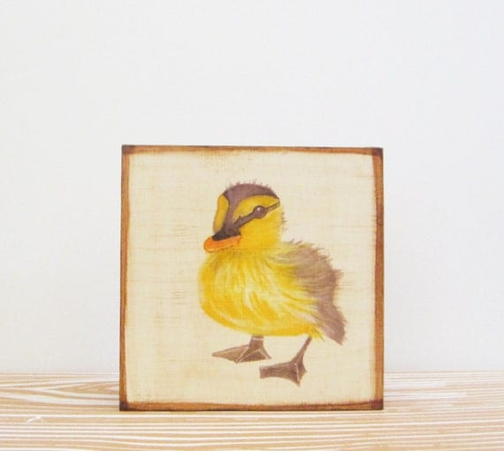 duck wall art- 5x5- art block- duckling- art for a kids room- nursery wall decor- redtilestudio