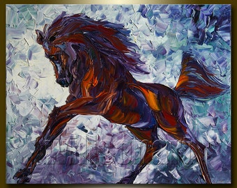 Horse Original Animal Oil Painting Textured Palette Knife Modern Art 24X30 by Willson Lau