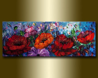 Modern Flower Oil Painting Red Poppies Floral Canvas Textured Palette Knife Original Art Poppy Field 15X40 by Willson Lau