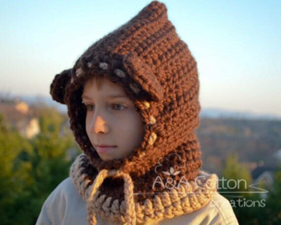 SALE! Hooded cowl scarf warmer nackwarmer Dark Brown Bear Ears Hood with Beige Trim and ties. Warm and Chunky Christmas gift. Ready to ship