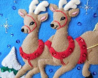 "Bucilla's OVER the ROOFTOPS - 18""Felt Applique Christmas  Stocking- Reindeers  Santa's Sleigh"