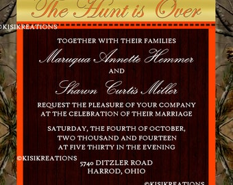 The Hunt is Over Wedding Invitation and RSVP Postcard