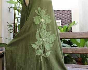Double Layers Cotton Dress - Saranya 1409-01 Olive Green