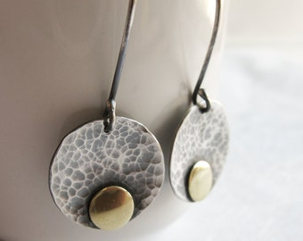 Hammered disc earrings - Silver disc dangle - Simple sterling silver earrings with Brass Dot