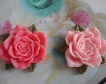 Kawaii pink rose cabochons decoden deco diy charm   2 pcs--USA seller